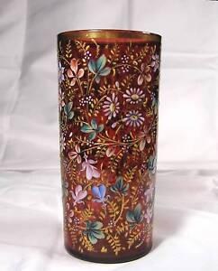 Moser - Cranberry Glass Vase - All over Florals - Pictured in book