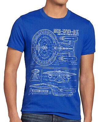 NC-1701D Enterprise Blaupause Herren T-Shirt trek trekkie star jean luc picard ()