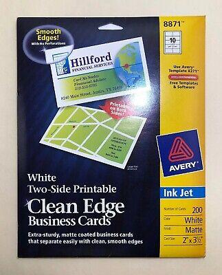 Avery Clean Edge Business Cards Inkjet White 8871 /2x3-1/2, Open Box, 160 Left