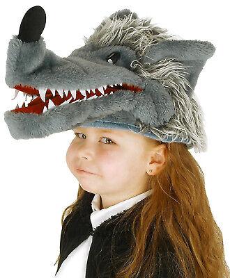 Big Bad Wolf Halloween Costume Grey (Big Bad Wolf Gray Faux Fur Hat Puppet Plush Halloween Kids Costume)