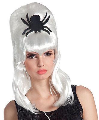 Damen weiß Zombie Monster Braut Perücke Gothik Spinne Halloween Kostüm NEU ()