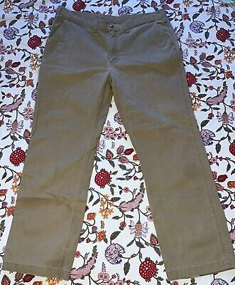 Carhartt Sturdy Work Jeans Beige Pants 14806 Relaxed Fit Cotton Size 40 X 32