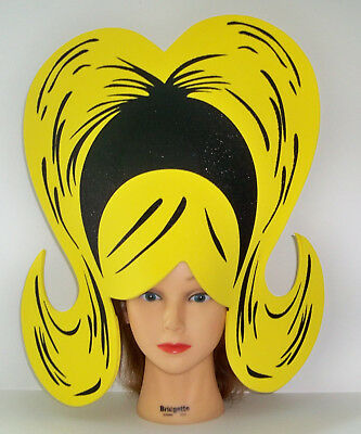 ADULT COMIC CARTOON YELLOW BOUFFANT FOAM WIG COSTUME ACCESSORY SEW10005