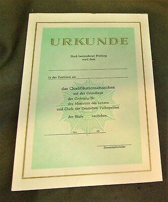 DDR - MdI Urkunde blanko zum Erwerb des Qualifikationsabzeichens