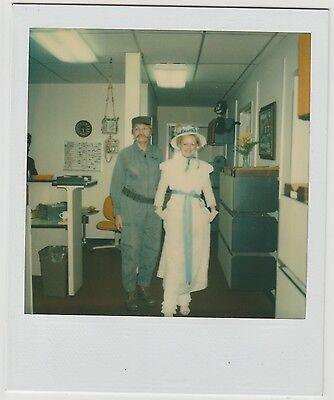 Vintage 80s Polaroid PHOTO Couple Fidel Castro & Lil Bo Peep Halloween - Castro Costume