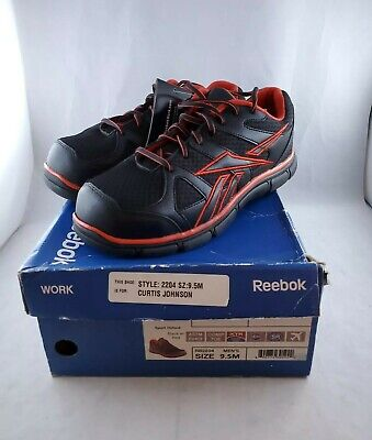 Composite-toe Sneaker (Reebok Mens Sport Grip Composite Toe Sneaker Red and Black Size 9.5)