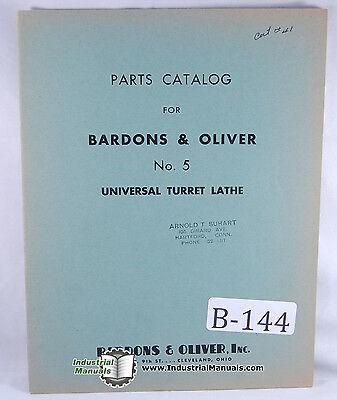 Bardons Oliver No. 5 Turret Lathe Parts Manual