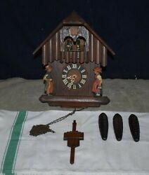 RARE BLACK FOREST SCHNEIDER MUSICAL CUCKOO CLOCK WITH ANIMATION –GERMANY -REGULA