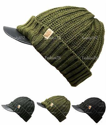 NEW Unisex Knit Slouchy Baggy Visor Beanie Winter Hat Short Brim Ski Warm -