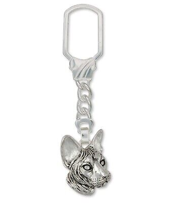 Sphynx Cat Key Ring Jewelry Sterling Silver Handmade Cat Key Ring SX1-KRE ()