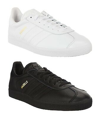 ADIDAS ORIGINALS LEATHER GAZELLE  - MENS TRAINERS - BLACK OR WHITE - BRAND NEW