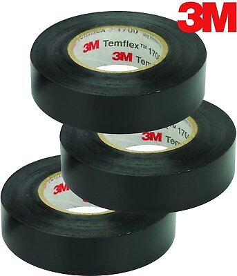 3m Temflex Vinyl Electrical Tape 1700 34 In X 60 Ft Black 1.5core 3-roll