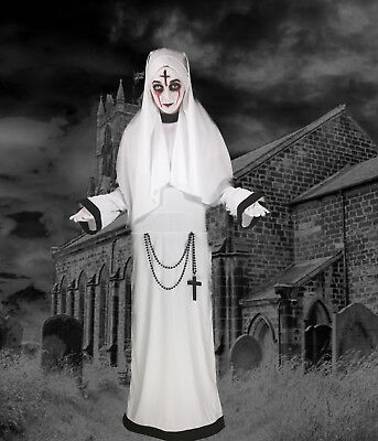 Adult Lady Nun Sister Ghost Conjuring Costume Valak Fancy Dress Halloween 12/14 ()
