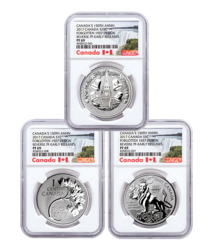 2017 Canada Coin Lore 1927 Designs 1 oz Silver Rev NGC PF69 ER 3-Coin SKU47943