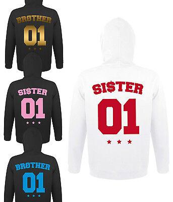 Brother Sister Bruder Schwester Hoodie Pullover BFF mit Wunschzahl BRO SIS