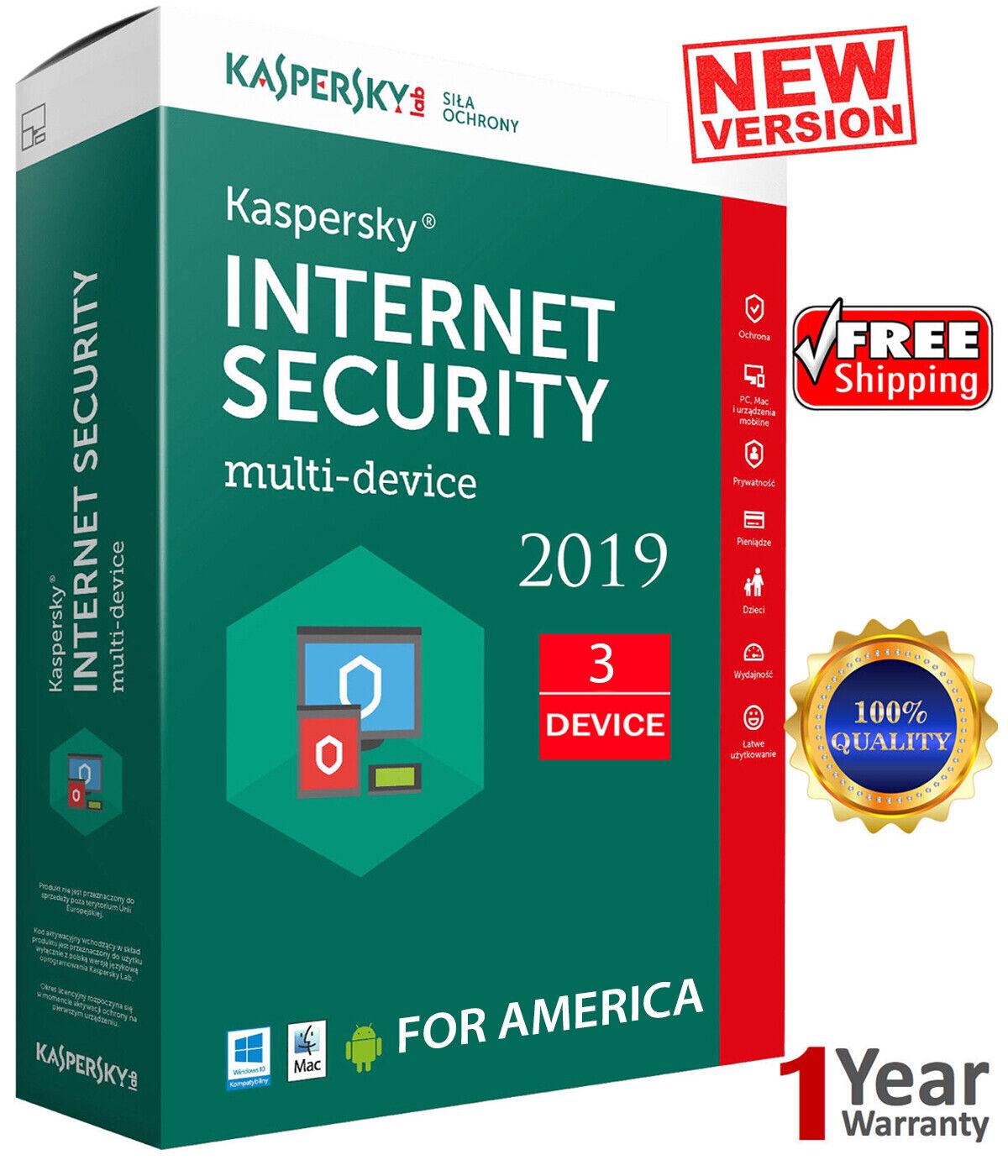 KASPERSKY INTERNET Security - 2020 / 3 Devices /1 Year/ Region - AMERICA  13.25$
