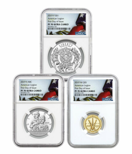 2019 P S W American Legion 100th 3 Coin Set NGC PF70 FDI Liberty Flag SKU57818