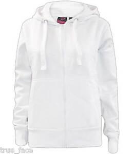 Ladies Plain Zip Up Hoodie Sweatshirt Women Fleece Jacket Hooded Top UK 8 To 16