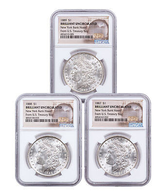 - 3-Coin Set - 1887-89 Morgan Silver Dollar New York Bank Hoard NGC BU SKU54943