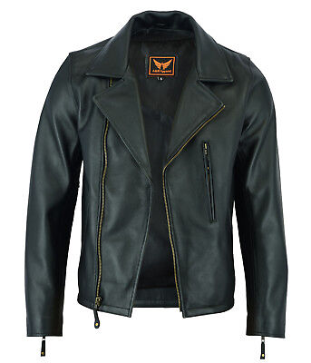 - Mens Classic Vintage Genuine Top-Grain Cowhide Bicker Leather Jacket