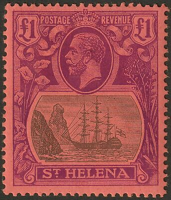 St Helena 1922 KGV £1 Grey and Purple on Red Mint SG96 cat £450