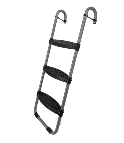 Wide 3-Step Trampoline Ladder   Safety-Latch   Cooler Surface   No Slip