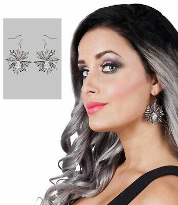 Halloween Ohrringe mit Spinnennetz NEU - Zubehör Accessoire Karneval Fasching
