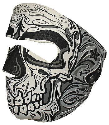 Black Grey Sugar Skull Muerte Day of Dead Neoprene Face Mask Biker Ski - Dead Biker Costume