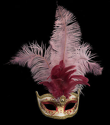 Mask from Venice Colombine in Feathers Ostrich Lina Red 1445 VG10