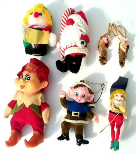 Vintage Christmas Lot Elf Pixie Santa Claus 1960s-1980s 7pc Decoration Ornament