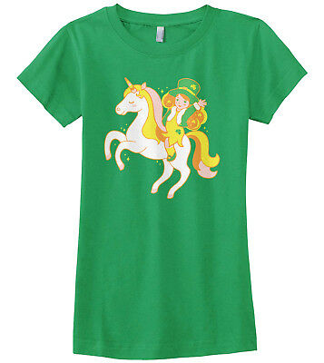 Leprechaun Girl Riding Unicorn Girls Fitted T-Shirt St Patricks - Girl Leprechaun