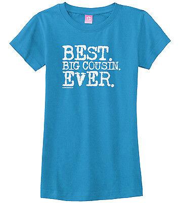 Threadrock Girls Best Big Cousin Ever Fitted T-shirt Niece Nephew Reveal