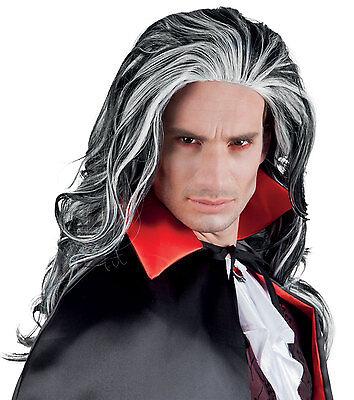 Herren Lang Gothik Vampir Dracula Perücke Horror Piraten Kostüm Halloween (Vampir Piraten Kostüme)