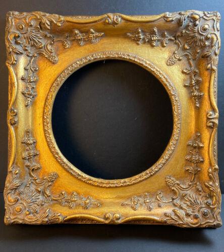 ANTIQUE VTG GOLD GILT CARVED WOOD & GESSO Round opening  FRAME PLATE DISPLAY
