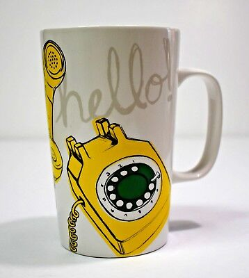 Starbucks Hello Coffee Mug Cup Tea Yellow Rotary Telephone 2015 Phone w/ Cord