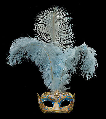 Mask from Venice Colombine in Feathers Ostrich Shayla Blue 1452 VG10