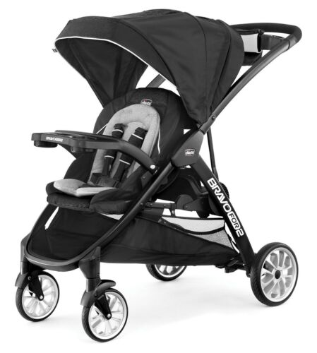 Chicco BravoFor2 LE Standing/Sitting One-Hand Fold Baby Double Stroller Crux NEW