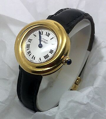 CARTIER MUST DE CARTIER TRINITY VERMEIL STERLING 925 LADIES WATCH 27MM