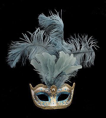 Mask from Venice Colombine in Feathers Ostrich Lina Sky Blue 1441 VG10