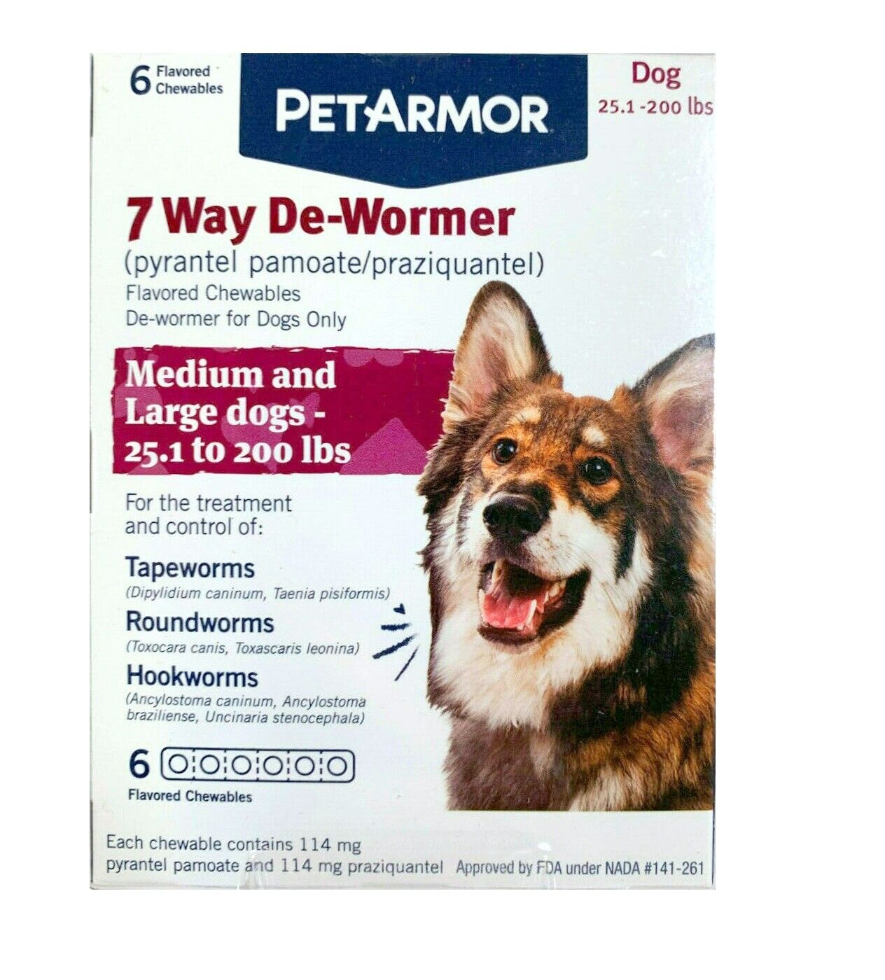 PetArmor 7 Way De-Wormer For Dogs Medium-Large 25-200 Lbs 6 Tabs - RETAIL PACK - $21.95