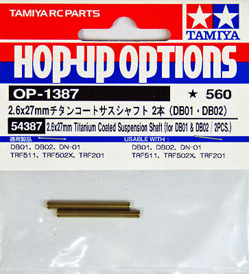 Tamiya 54387OP1387 2.6x27mm Titanium Coated Suspension Shaft DB01DB02/2pcs