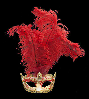 Mask from Venice Colombine in Feathers Ostrich Shayla Red 1453 VG10