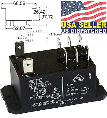 Te Connectivitypotterbrumfield T92p11a22-24 Power Relay Dpdt 24vac 30a Panel