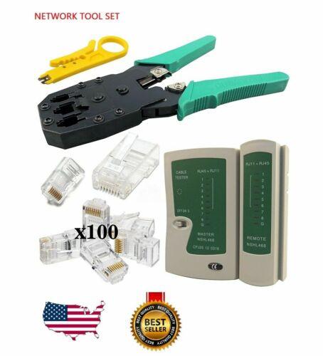 Cable Tester Crimp Crimper + 100 RJ45/RJ11 CAT5e Connector Plug Network Tool Kit