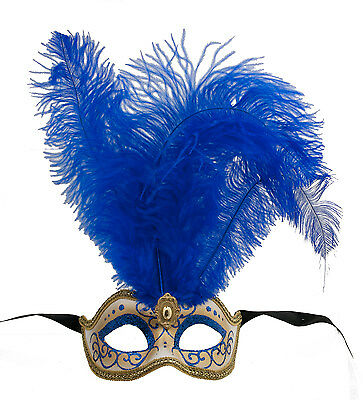Mask Venice Colombine to Ostrich Feathers Blue Lina 1438 VG10