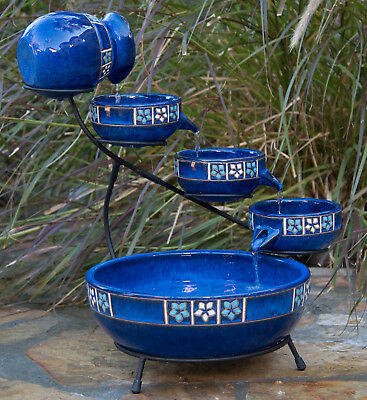 Outdoor Tiered Fountain Cascade Ceramic Pots Solar Blue Garden Decor Bird Bath ()