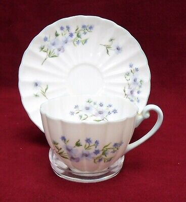 SHELLEY china BLUE ROCK 13591 FLUTED Shape Cup & Saucer Set - 2-1/4