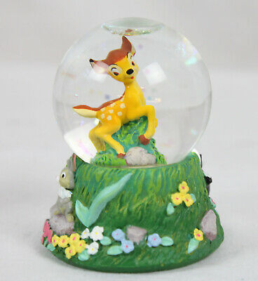 "Disney Store Bambi Mini Snowglobe Snow Globe Thumper Skunk Prancing 2.5"" Rare"
