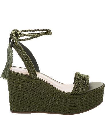 Schutz Women's Green Mattia Braided Wedge Sandal With Satin Rope Tassel Laces Satin Wedge Sandal