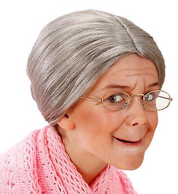 Kids Girls Grandma Wig Grey Granny Old Woman OAP Fancy Dress Hair Deluxe - Old Woman Costume